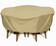 "Two Dogs 84"" Round Table Set Cover - Khaki"