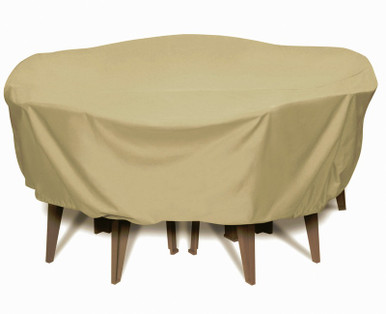"""Two Dogs 84"""" Round Table Set Cover - Khaki"""