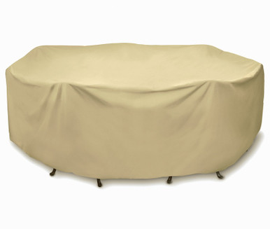 """Two Dogs 108"""" Round Table Set Cover - Khaki"""
