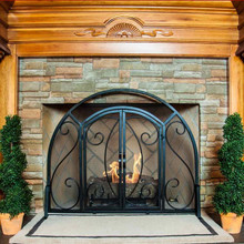 2-Door Ornate Fireplace Screen