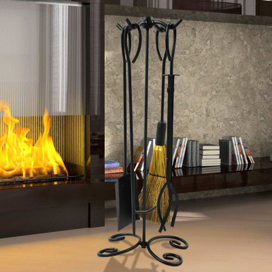 5-Piece Wrought Iron Scroll Fireplace Tool Set