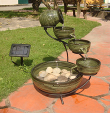 Cascade Solar Fountain - Green Bamboo Ceramic