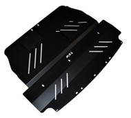 2004-2007 WRX & STI Aluminum Under Tray Skid Plate Black angle