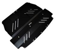 2004-2007 WRX & STI Aluminum Under Tray Skid Plate Black angle