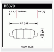 HAWK Ceramic REAR Brake Pads for non-brembo 350Z & G35