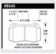 Hawk 'Performance Street' FRONT Brake Pads HB545N.564 (HAWK - HB545N.564)