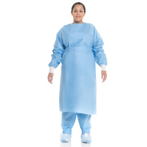 Halyard Health Procedure Gowns with Knit Cuffs in Blue