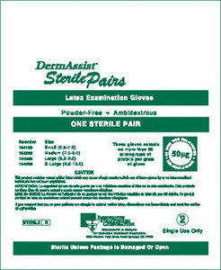 Sterile Latex Exam Gloves Pairs-DermAssist Powder-Free