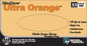Ultra Orange Nitrile Exam Gloves-Nitriderm