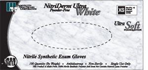 Ultra White Nitrile Exam Gloves-Nitriderm