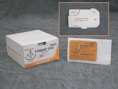 "Ethicon ETHIBOND EXCEL Sutupak Pre-Cut Suture X186H Size 0 6""-18"" Box"