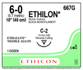 "Ethicon ETHILON Suture 667G Size 6-0 18"" C-2 Reverse Cutting"