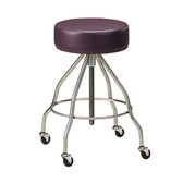"Mobile Padded Stool 14"" Seat Stainless Steel Screw Height Adjustment"
