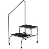 Clinton Two-Step Step Stool With Handrail Chrome T-6850