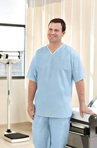 Graham Medical Disposable Scrubs Shirt Light Blue