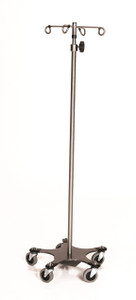 Stainless Steel IV Pole with Five Leg Base