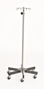 Stainless Steel IV Pole with Six Leg Base