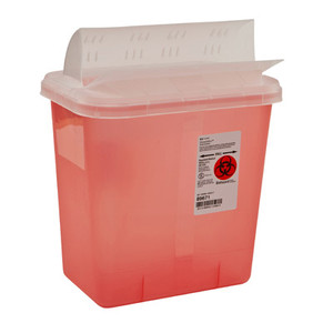 SharpSafety 2 Gal Sharps Container Horizontal-Drop Opening Lid