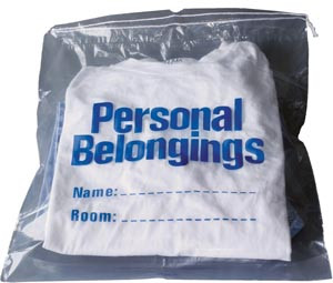 """Personal Belongings Bag with Drawstring 17""""x20"""" Clear"""
