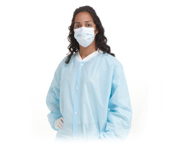 Disposable Lab Coat with Pockets in Blue