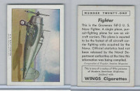 T87 Wings Cigarettes, Series (No Letter Series), 1941,#21 Fighter