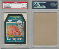 1973 Topps, Wacky Packs, 4th Series, Dampers, PSA 6 EXMT