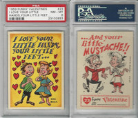 1959 Topps, Funny Valentines, #23 I Love Your Little Hands, PSA 8 NMMT