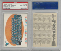 1959 Topps Football, #133 Giants Team Card, PSA 8 NMMT
