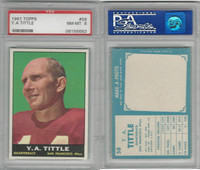 1961 Topps Football, #58 Y.A. Tittle HOF, San Francisco 49ers, PSA 8 NMMT
