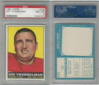 1961 Topps Football, #152 Sid Youngelman, New York Titans, PSA 8 NMMT