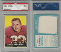 1961 Topps Football, #177 Fred Bruney, Boston Patriots, PSA 9 Mint