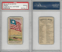 N9 Allen & Ginter, Flags of all Nations, 1887, Liberia, PSA 2 Good