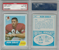 1968 Topps Football, #138 Ken Gray, St. Louis Cardinals, PSA 8 NMMT