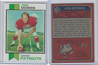 1973 Topps Football, #108 Jon Morris, New England Patriots