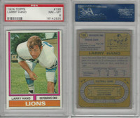 1974 Topps Football, #198 Larry Hand, Detroit Lions, PSA 8 NMMT