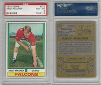 1974 Topps Football, #212 Andy Maurer, Atlanta Falcons, PSA 8 NMMT