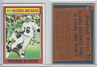 1976 Topps Football, #1 George Blanda (Record Breaker), Raiders