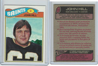 1977 Topps Football, #117 John Hill, New Orleans Saints