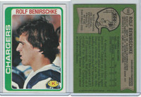 1978 Topps Football, #122 Rolf Benirschke (Rookie)