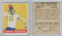 1948 Leaf Football, #9 Tommy Thompson RC, Philadelphia Eagles
