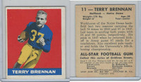 1948 Leaf Football, #11 Terry Brennan RC, Notre Dame
