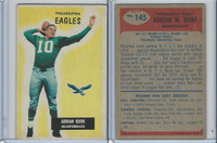 1955 Bowman Football, #145 Adrian Burk, Philadelphia Eagles