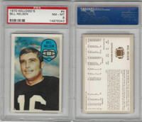 1970 Kelloggs Football, #4 Bill Nelson, Browns, PSA  8 NMMT