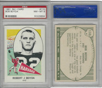 1961 Nu-Card Football, #110 Bob Boyda, Harvard, PSA 8 NMMT