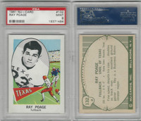 1961 Nu-Card Football, #132 Ray Poage, Texas, PSA 9 Mint