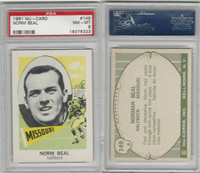 1961 Nu-Card Football, #149 Norman Beal, Missouri, PSA 8 NMMT