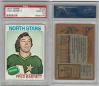 1975 Topps Hockey, #124 Fred Barrett, North Stars, PSA 10 Gem