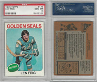 1975 Topps Hockey, #174 Len Frig, Golden Seals, PSA 10 Gem