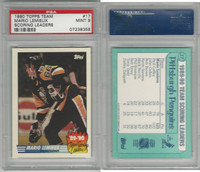 1990 Topps Hockey, #17 Mario Lemieux HOF, Penguins, PSA 9 Mint