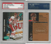 1991 Parkhurst Hockey, #37 Nicklas Lidstrom RC, Red Wings, PSA 9 Mint